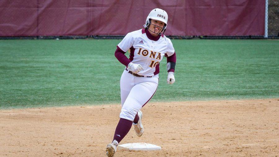 Iona sophomore Jasmine Temple sprints around the bases.