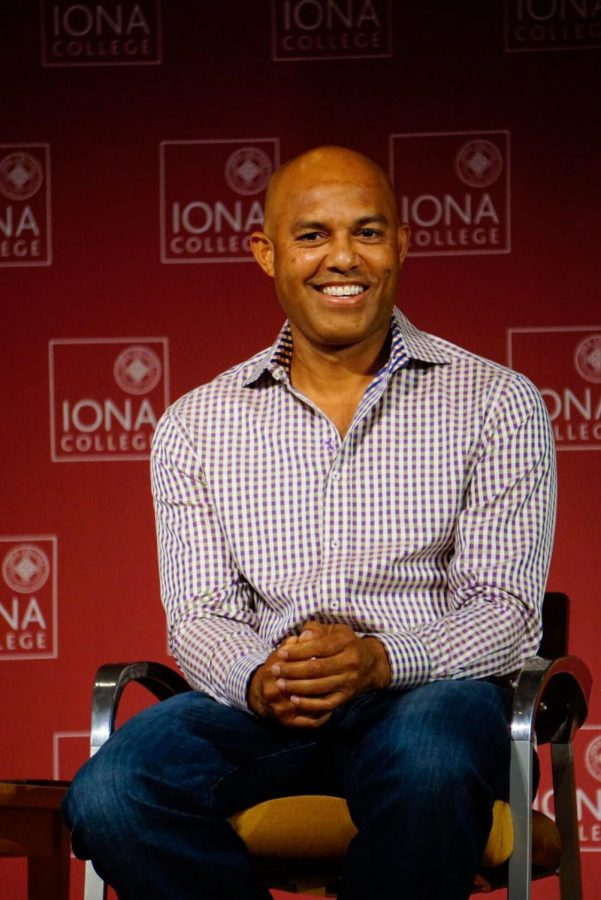 Mariano+Rivera+visited+Iona+College+in+2017+to+talk+about+how+religion+played+a+strong+role+in+his+baseball+career.