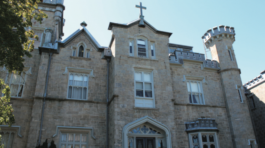 Leland Castle, a prominent building on the College of New Rochelle's campus, reflects the school's Catholic roots.