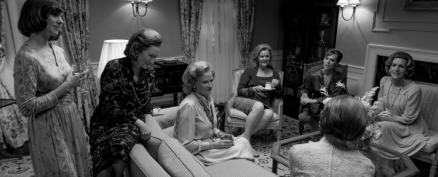 """Some of """"The Post"""" cast, including Streep (second from left), filmed a couple scenes at the Nyres' house."""