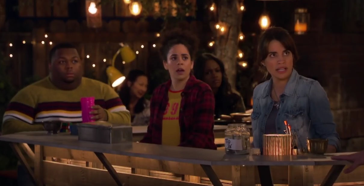 "In ""Abby's,"" former Marine Abby (right) hangs out with her ragtag group of friends while running an unlicensed bar out of her backyard."