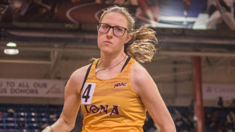 Senior Egle Morenaite earned the U.S. Track and Field and Cross Country Coaches Association All-American award in the 2019-20 season. / Photo courtesy of icgaels.com