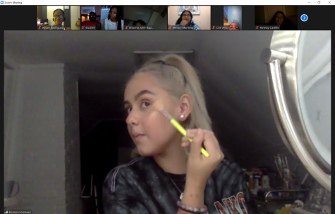 Members of the fashion club demonstrated how to achieve an everyday makeup look for the participants watching through Zoom.