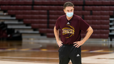 Iona men's basketball head coach Rick Pitino observes players during a practice in the Hynes Center at Iona College in New Rochelle, NY. The Gaels experienced two long shutdowns this season, missing over 60 days of games and practices due to positive COVID-19 tests within the program.