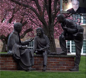 Br. Gunn explained how the statue of Edmund Rice in the quad portrays his relational teaching style.