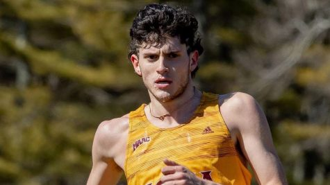 Freshman Nick Sinofsky running during the  Metropolitan Championships on April 9th at Icahn Stadium.